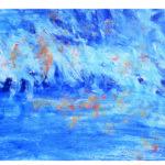 Gemalter Hintergrund, blau-weiss-orange