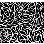A black and white hand-drawn abstract pattern background in vector format.